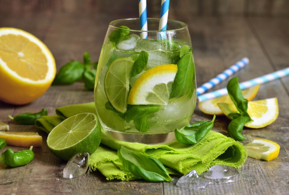 Basil lemonade - cold summer drink.