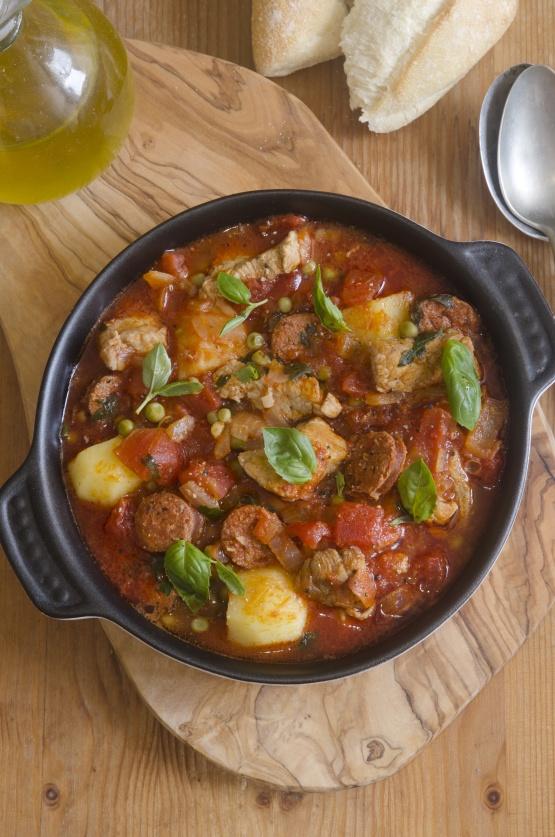 Pork, chorizo and pea stew
