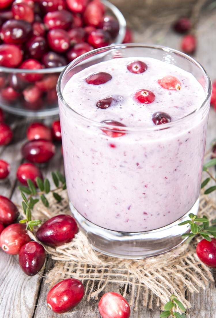 Cranberry Milkshake with fresh fruits